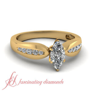 Marquise Cut Diamond Engagement Ring With Channel Set Round Accents GIA 0.60 Ct