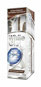 White Glo Coffee & Tea Drinkers Formula Whitening Toothpaste 150g + Toothbrush