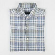 CURRENT Ermenegildo Zegna Blue Gray Linen Plaid Dress Shirt - M Medium 15 1/2