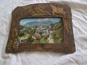 VERY RARE  ANTIQUE-HAND-MADE-WOODEN-PHOTO-PICTURE-FRAME photo berchtesgaden