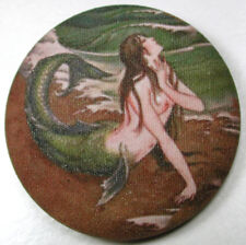 Mermaid on the Beach  Fabric Covered Button  1 & 1/2 inch FREE US SHIPPING