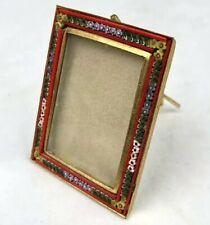 Vintage MCM Murano ITALY Micro Mosaic Millefiori Glass Photo Picture Frame Easel