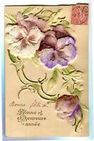 CPA Fantaisie Bonne et Heureuse Année carte relief Fleurs