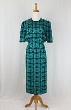 Vintage Adrianna Papell Emerald Green Silk Houndstooth Print Shirtwaist Dress 6