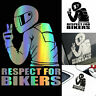 RESPECT FOR BIKERS Reflective Funny Biker Motorcycle Decal Car Sticker Vinyl