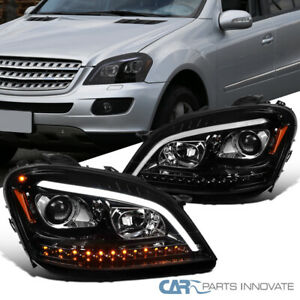 For 06-08 Benz W164 ML350 ML500 Pearl Black LED Sequential Projector Headlights