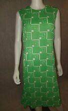 New listing Green & White Vintage Lady Carol Geometric Print Sleeveless Dress Sz 16