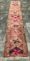 "Turkish Wool Runner, Vintage Hand Knotted Soft Pile 14'4""x 2'9"", FREE SHIPPING!"