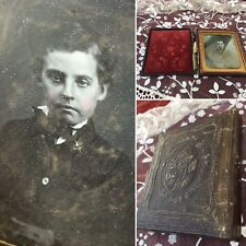 Antique Daguerreotype Creepy Boy Velvet Leather Picture Mirror Photo Gold Gilded