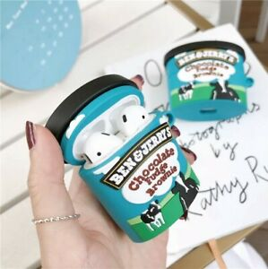 Ben & Jerry Ice Cream Cup Silicone Earphone Bluetooth Case For Airpods 1/2 & Pro