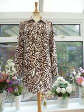 FABULOUS *FENN WRIGHT MANSON* BROWN & WHITE LEAVES LINEN SAFARI SHIRT DRESS 14