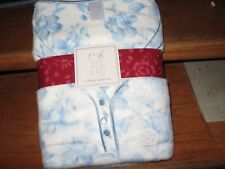 WOMENS PAJAMAS SIZE XLARGE XL BLUE & WHITE FLORAL BRUSHED MICROFLEECE NEW