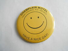 Vintage Champlain Motel Upper Clements NS Canada Smiley Face Advertising Pinback