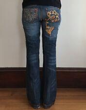 Antik Denim Jeans Medium Wash Floral Embroidered Distressed Flare Leg Size 29