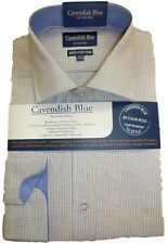 "FREE POST 100% Cotton Fine Tattersall Check Shirt  Blue Trim 14.5""-17.5"" BNWT"