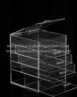 Acrylic Lucite Clear Cube Makeup Organizer The Kardashians Display 4 plus lid