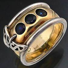 Wide Buckle Ring 9k Solid YELLOW WHITE GOLD SAPPHIRE ETERNITY RING BAND Sz O1/2