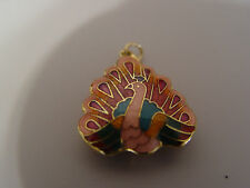Vintage double sided Pink Peacock cloisonne pendant charm
