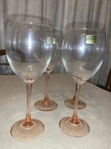 Luminarc Vintage Rose Wine Glasses Made in France 4 New in Box 1980