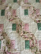 Handmade Reversable Vintage Roses Patchwork Quilt Shabby Chic Single Bed Topper