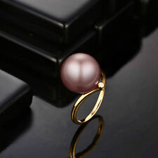 18ct Yellow Gold Stunning Purple Pearl and Diamonds Ring VVS Cocktail Beauty