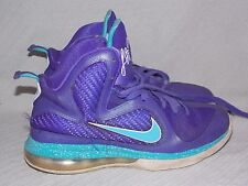 Nike LeBron 9 Summit Lake Hornets 472664-500 Pure Purple/Turquoise Blue Size 7Y