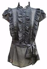 Black sheer chiffon high neck ruffle blouse victorian steampunk work lolita boho