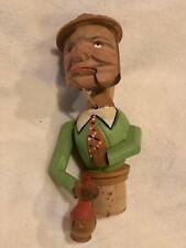 Vintage Anri Carved Man Drinks From Bottle Mechanical Wine Cork Bottle Stopper