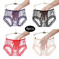 4PCS Women Sheer Mesh Lace Briefs Panties Sexy See Through Underpants Underwear