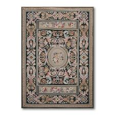 4' x 6' Hand woven French Needlepoint Aubusson Area rug flat pile wool 4x6 Blue