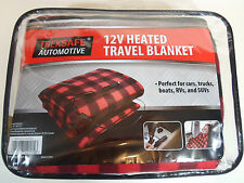 TREKSAFE AUTOMOTIVE 12V Electric HEATED PLAID RED/BLACK TRAVEL BLANKET NEW  Volt