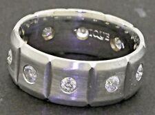 14K white gold amazing 1.0CT diamond eternity men's band ring size 9.5