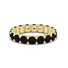 3.55 Carat Natural Black Diamond Full Eternity Wedding Band Ring 14K Yellow Gold