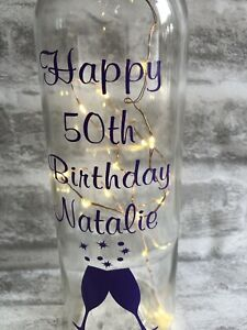 Personalised Birthday Light Up Wine Bottle 18th 21st 30th 40th 50th 60th ANY AGE