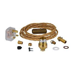 Premium Lamp Kit B22 Unswitched Holder Fabric Flex UK Plug DIY Brass ElekTek