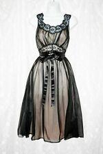 Vtg Vanity Fair Black Goth Ballerina Evening Gown Prom S M