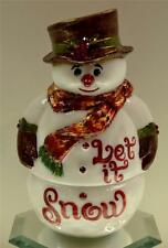 "Fenton FAIRY LIGHT LAMP Milk Glass Snowman ""LET IT SNOW"" OOAK freeUSAshp"