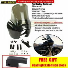 Black ABS Front Headlight Fairing Adjustable Windshield Fit Harley T-Sport Dyna
