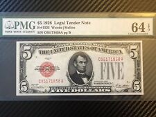 $5 1928 Legal Tender Note PMG 64 EPQ FR# 1525 UNCIRCULATED