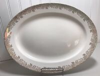 Edwin M. Knowles China Company Oval Platter Semi Vitreous Gold Trim  43-7 U.S.A.
