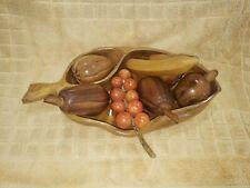 Vtg Mid Century Carved Monkey Pod Wood Fruits & Bowl Philippines Hawaii