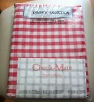 """Check-Mate Tablecloth  60""""x84""""  Red & White Cotton Weavers Collection NIP Picnic"""