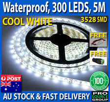 Cool White 300 LED Waterproof 12V 5M 3528 SMD Flexible Strip Lights Car + DIMMER
