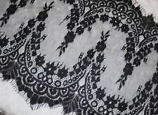 """3.25 yards black sheer scallop sewing non stretch lace eyelash 14.5"""" extra wide"""