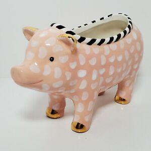 Mackenzie Childs Pink Polka Dot Pig Ceramic B&W Trim Gold Ears Hooves