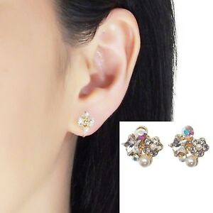 Swarovski Clip On Star Rhinestone Crystal White Pearl Invisible Stud Earrings
