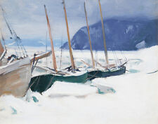 Gagnon Alphonse Clarence Schooners In Ice Floes Baie St Canvas 16 x 20   #3281