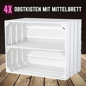 4 weiße Obstkisten mit Mittelbrett/Zwischenboden,Schuregal/Schuhschrank