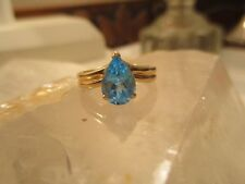 14K Gold, Pear-Shaped Brilliant Blue Topaz Solitaire Ring, Size 6.25