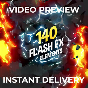 140 Flash FX Elements! For After Effects CC 2014.2 or higher. Digital Download!